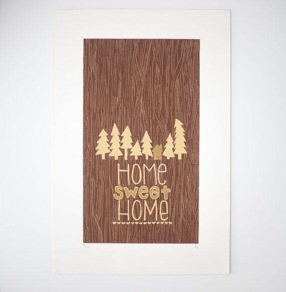 home sweet home woodgrain print