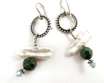 White Pearl Earrings Freshwater Stick Pearl Green Blue Glass Sterling Silver