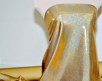 Mystique Spandex Sparkly Jewels Gold/Gold  Stretch fabric.... cheer bows... dance skate gymnastics twirl  pageant  BTY