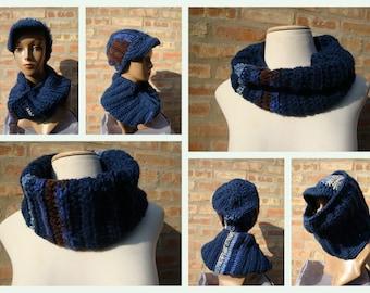 Navy Blue Hat and Neckwarmer Set - Cowl, Cap, Crochet hat set - handmade cap and scarf
