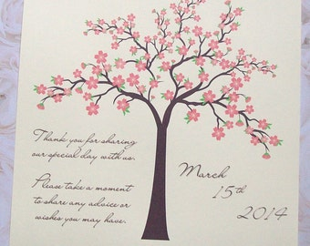 Wishing Tree Instructions Sign - Spring Cherry Blossoms - Flower Blossom - Personalized