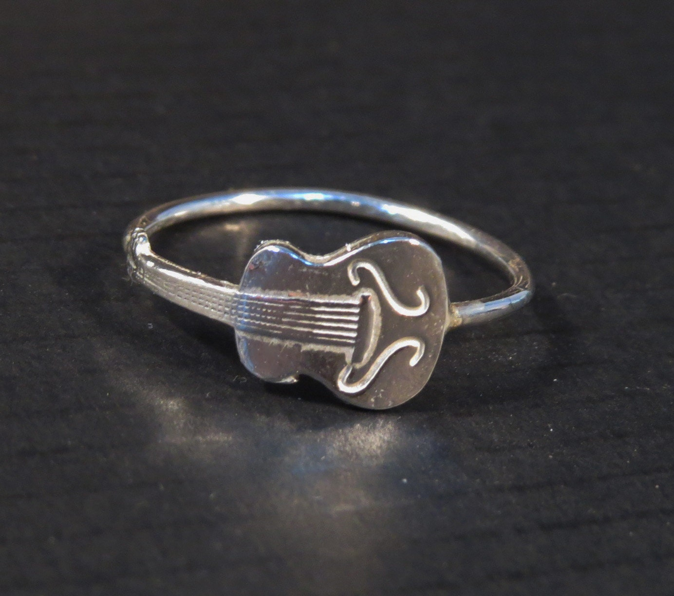 silver guitar ring ring novelty ring by