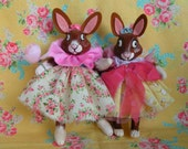 Ooak Easter Bunnies..Easter Decor...Vintage Inspired...Ooak Art Dolls...Wedding Cake Topper...Paper Clay... Sisters....Handmade and OOAK