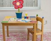 "Splat Mat/Tablecloth ""Fuchsia Tea Party"" - Laminated Cotton BPA  & PVC Free - Choose Your Size below!"