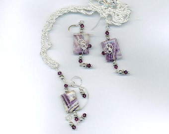cha-12 Charoite hand wired necklace set