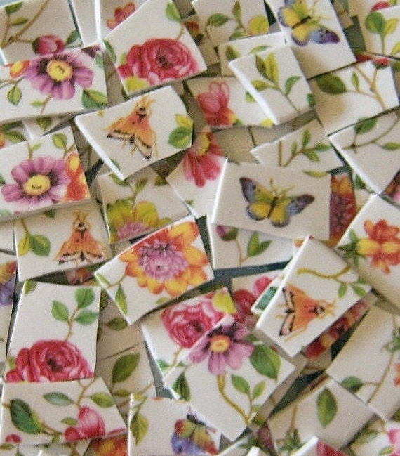 Lots of Flowers-Butterfly--Mosaic Tiles///100 PIECES