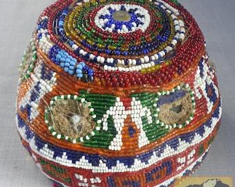 Vintage Beaded Hat, Afghanistan, Kuchi Helmet Item E29