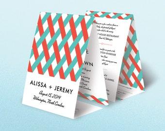 100 Seal and Send All in One Tri Fold Retro Modern Chevron Wedding Invitations