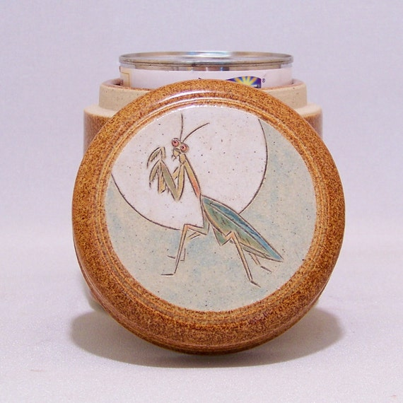 Praying Mantis Pottery Stash Jar and  (grease) Drippings Jar Limited Series 1