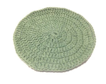 Sage Green Crocheted Round Dish Cloth