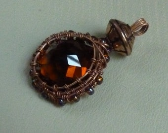 24MM octogon cut 46.40 ct Madeira citrine copper wire wrap wire weave reversable pendant