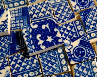 China Mosaic Tiles - BLuE WiLLoW MiNi TiLeS - 130 recycled china plate tiles