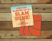 Printable basketball Valentine's Day Card - slam dunk valentine, sports valentine, editable pdf, customizable instant download