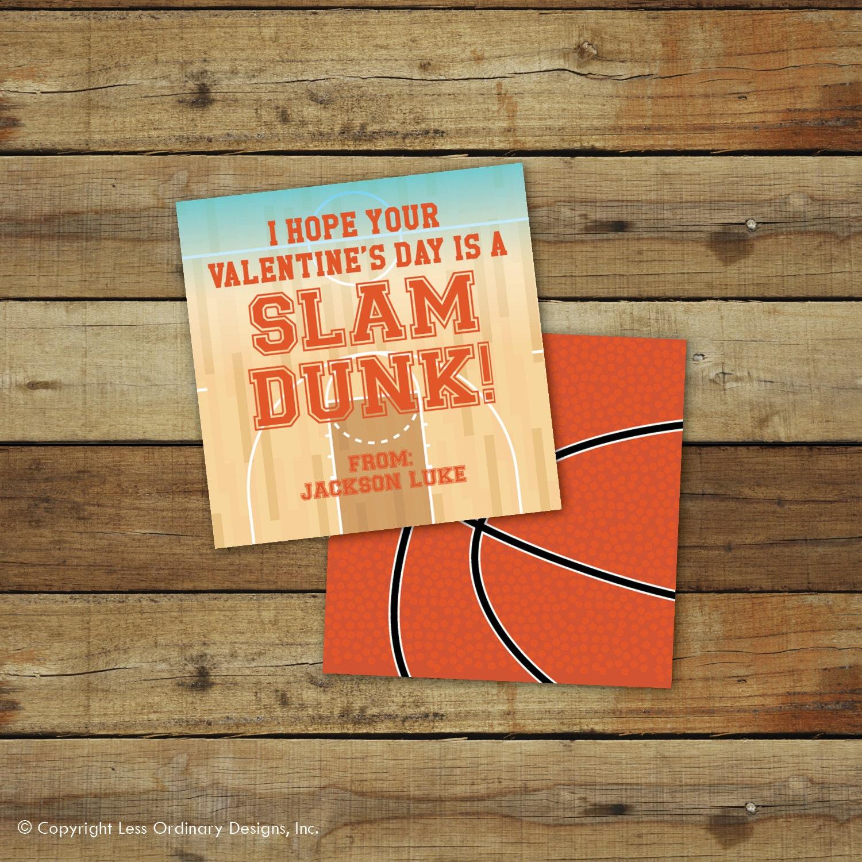 Printable basketball Valentines Day Card slam dunk – Basketball Valentine Cards