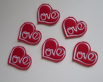Love Heart Style 3 Red with White Embroidered Valentine Heart - 189