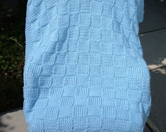 Super Sale - Sky Blue Checkerboard Basket - 35 inch x 45 inch - Knitted Baby / Lap Blanket FREE SHIPPING