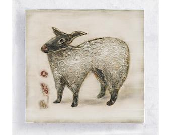 Sheep Art - Mary Had A Little Lamb - Whimsical Animal Wall Art  - White Lamb Canvas Print on 5x5 Art Block - Nursery - Children's Room Decor