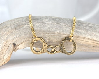 Gold Handcuff Necklace, Gold Necklace, Gold Pendant Necklace, #699