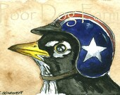 ACEO signed PRINT -- All American Robin a Biker Helmet