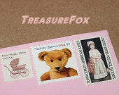 Baby Girl .. Teddy Bear .. Unused Vintage Postage Stamps .. enough to mail 5 letters