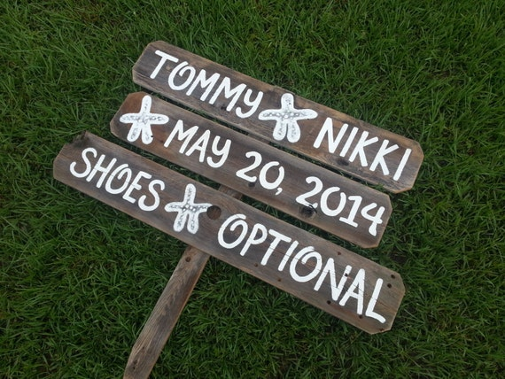 beach wedding signs starfish shoes optional sign wedding ocean signs fish wedding signs beach front wedding