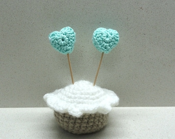 Supplies Handmade Six(6)  CROCHETED cotton Teal turquoise hearts  by Artefyk