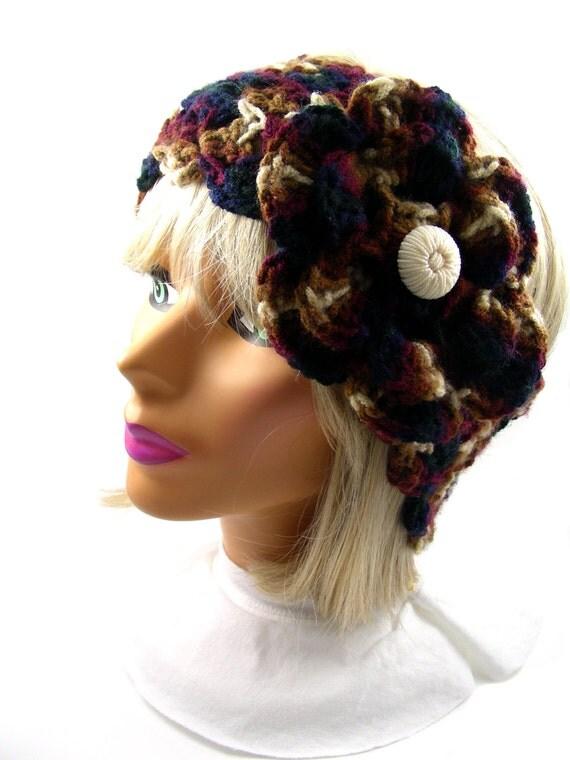 Crochet headwarmer with flower, navy blue - burgundy - brown - cream, adjustable width