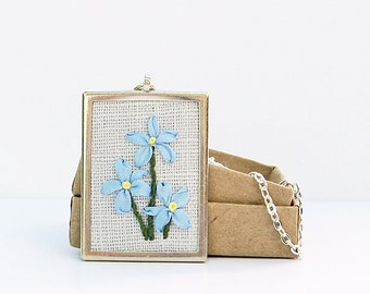 Forget-me-nots necklace, silk ribbon embroidery, embroidered jewelry, blue silk flowers, rectangular pendant, Alaska state flower