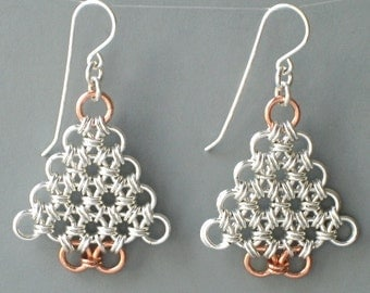 Silver Filled and Copper Chainmaille Christmas Tree Earrings - Silver Chainmaille Earrings - 313066