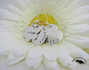 Personalized Hand Stamped Necklace Pendant in Sterling Silver, Faith, Hope, Believe