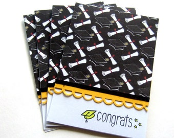 Congrats Graduation Card Stationery Set, Yellow Grad Cap and Border, for Female or Males,  High School or College Grads, Four Cards