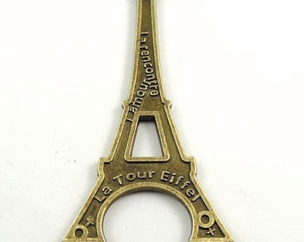 Paris France Eiffel Tower large charm bronze tone  Quantity one jewelry supplies findings travel G1