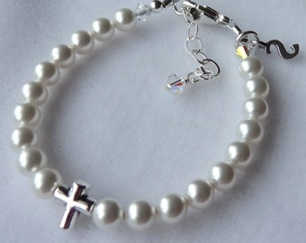 Baptism Cross Initial Pearl Bracelet, Confirmation, First Communion, Flower Girls,   Initial Personalized Bracelet