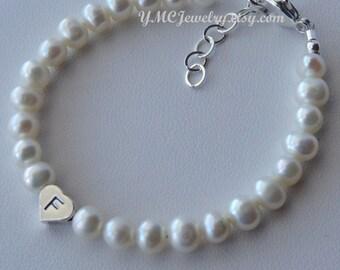 Sterling Silver Initial Heart Freshwater Pearl Children Bracelet, Birthstone Bracelet, Baptism Bracelet, Baby Pearl Bracelet, Flower Girl