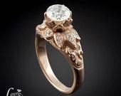 Diamond Lotus Flower Engagement Ring in 14kt Rose Gold - Milgrain Detail - LS1245
