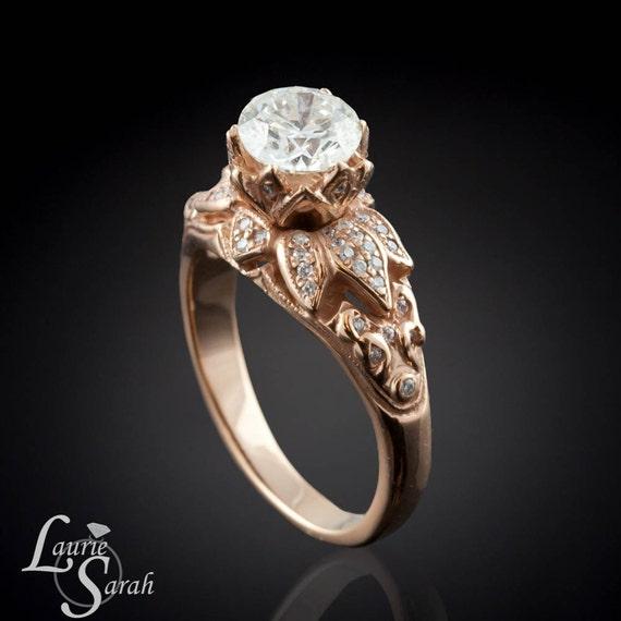 Rose Gold Diamond Engagement Ring, Diamond Lotus Flower Engagement Ring in 14kt Rose Gold - Milgrain Detail - LS1245