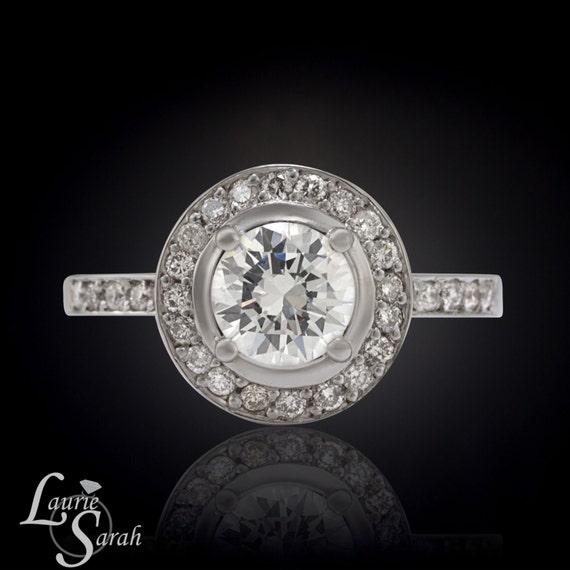 Halo Engagement Ring Single Halo Diamond Engagement Ring with