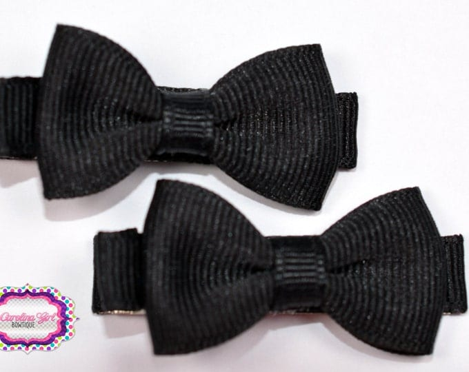 Black Hair Bow Set of 2 Small Hairbows - Girls Hair Bows - Clippies - Baby Hair Bows - Mini Hair Bow sets