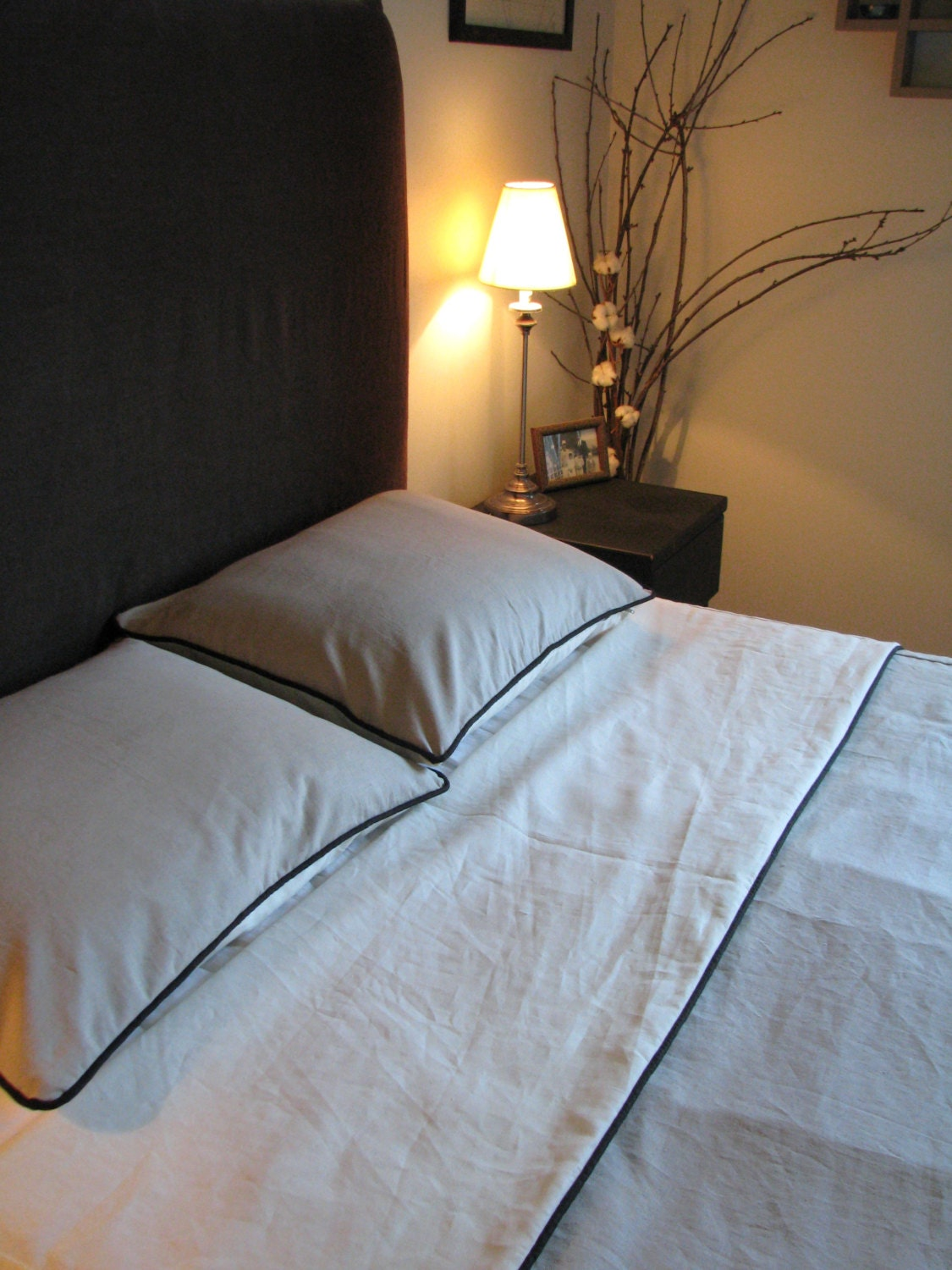 Queen Hemp Cotton Duvet Cover With Piping Organic Bedding