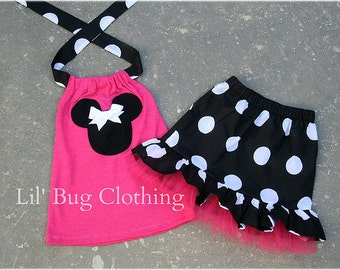 Custom Boutique Clothing Black White Hot Pink Jumbo Dot Minnie Mouse Tulle Skirt Halter