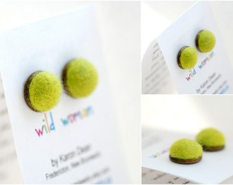 Chartreuse Green Stud Earrings, Felted Wool Earrings, Neon Jewelry, Spring Green, Fibre Jewelry, Post Earrings, Antiqued Brass Studs