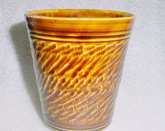 Amber Pottery Tumbler 16 ounce capacity Wheel Thrown and Chattered