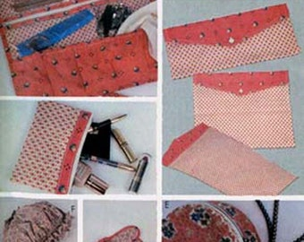 1980s Travel Accessory Pattern Jewelry Bag, Slippers McCalls 7842 Vintage 80s Sewing Pattern UNCUT