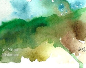 Mist on the Mountains ACEO Art Print Nature Watercolor Landscape Painting Watercolor ACEO Art Print Whimsical Mountians by Niina Niskanen