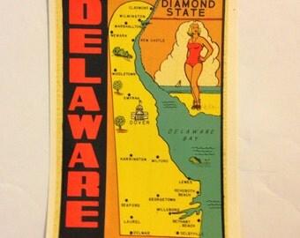 Delaware State Lindgren Turner Decal Vintage 50s Travel Decal Highway 66