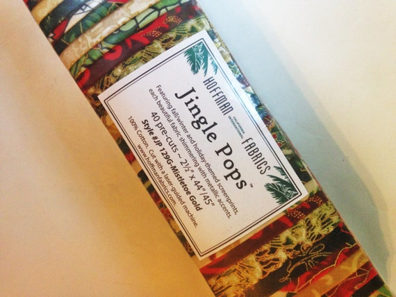 Jingle Pops Mistletoe Gold Christmas Fabric Strips Hoffman
