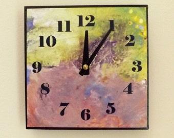 Abstract Clock, Wall Clock, Home Decor, Contemporary Clock, Modern, Chic, Yellow, Tan, Purple, Neutral