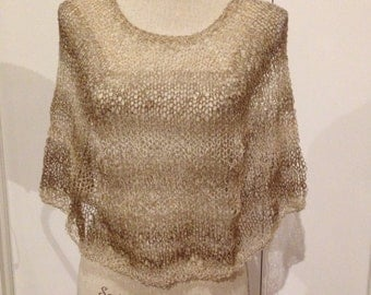 Wool Blend Poncho, Hand Knit in Fashion Yarn
