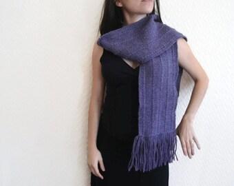 10% MOTHERSDAY code - Alpaca scarf - Handwoven Rustic violet scarf