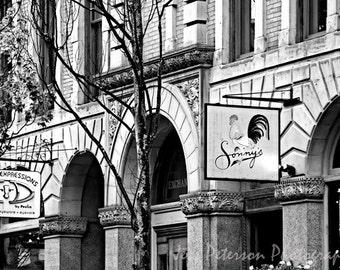 Portland Photography, Urban Landscape photos, Sonny's, Maine Art, Black & white architecture art, color wall decor, 8x12 Home Office Decor